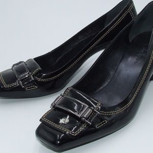 Cole Haan Square Toe Leather Kitten Heels Size 9.5